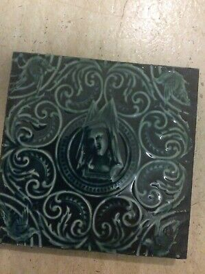 £80 • Buy 8 Rare Fire Place Tiles Green Edwardian `Acanthus, Ceramic Victorian