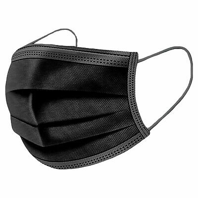 20x Black Face Mask 3Ply Disposable Surgical Covering Protection Masks Unisex UK • 5.99£