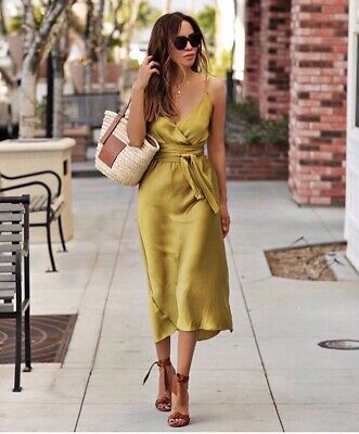 AU30 • Buy Zara Satin Camisole Wrap Dress Olive Green Sz M