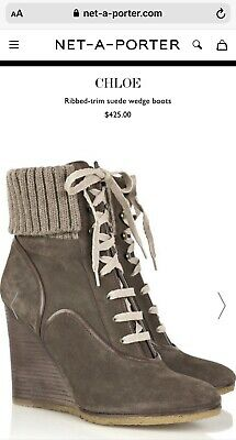 Chloe Mainline Suede Wedge Ankle Boots Wool Cuff $425 Net A Porter 40.5 UK 7 • 59£