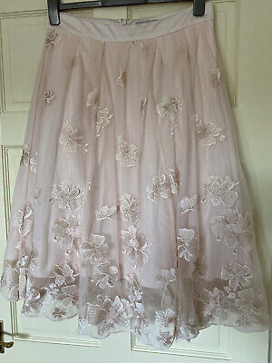 Bnwt Coast Baby Pink Net With Embroidered Gold Appliqué Flowers & Satin Skirt 16 • 10.50£