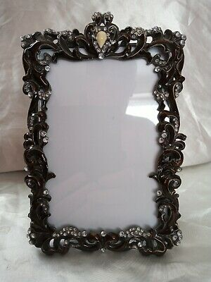 Beautiful Heavy Metal Rococo Style Photo Frame/enamel And Crystal Uk Sell Only • 10£