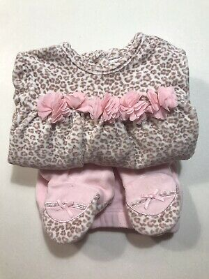 Baby Girl Pink Velour Animal Print Set Fits 9 Months - Immaculate • 3.50£