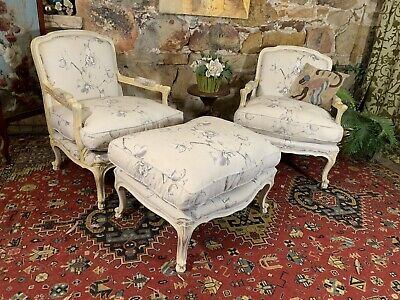 AU261.05 • Buy Stunning Pair Of Vintage French Bergeres & Footstool~Chair-Armchair~Chaise~MORAN