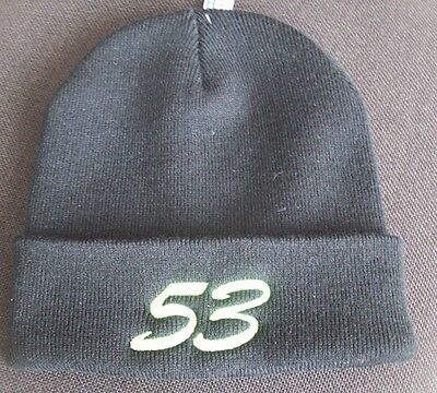 PERSONALISED EMBROIDERED KNITTED HAT WITH  STOCK CAR Or BANGER NUMBER ON RIM • 8.50£
