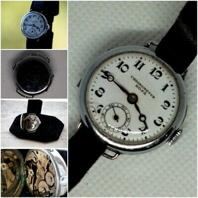 Old Orient Chronometer Rosa Watch Co, Trench Post WWI Military, 15 Jewels 1920s  • 38.51£