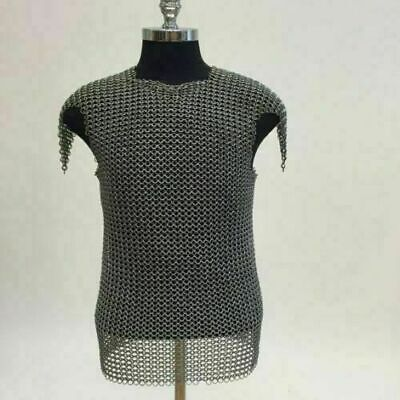 Chainmail Shirt | Mild Steel | 10 MM | Blackened | Butted | Medieval Armor • 61.96£