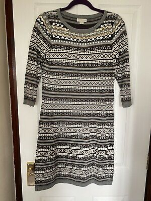 Monsoon Knitted Dress Size 10 In Fair Isle Design With Jewelled & Sequin Trim • 5.99£