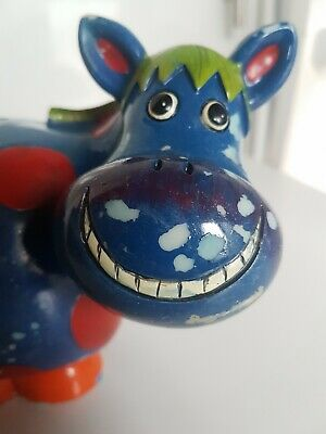 Money Box Cow Multi-coloured With Big Grin Figurine.  • 3.99£