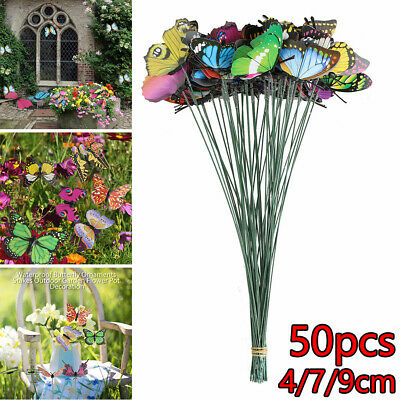 50 Pcs Colorful Garden Butterflies Stakes Patio Butterfly Ornaments On Sticks AU • 7.25£