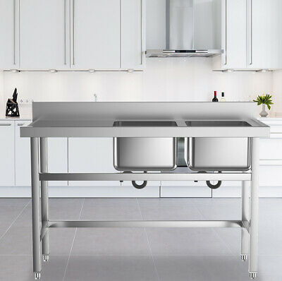 £209.95 • Buy Commercial Kitchen Catering SINK Stainless Steel Ware Washing Double Bowl Unit