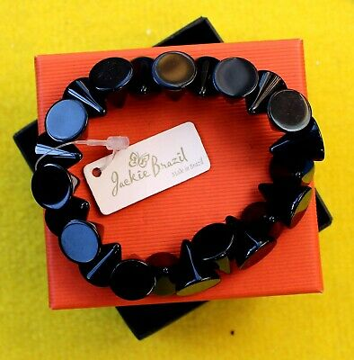 Jackie Brazil / Sobral Cone Stretch Bracelet In Black Gloss With Labels • 25£