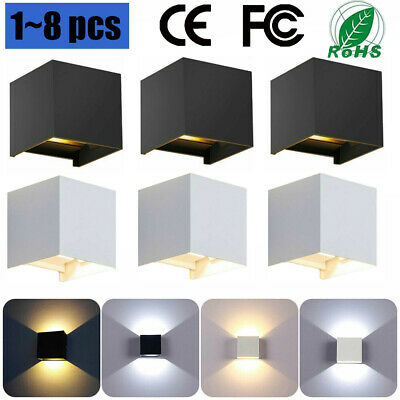 1~8x IP65 Cube LED Wall Lamp Indoor Outdoor Up Down Sconce Light Home Decor 240V • 24.68£