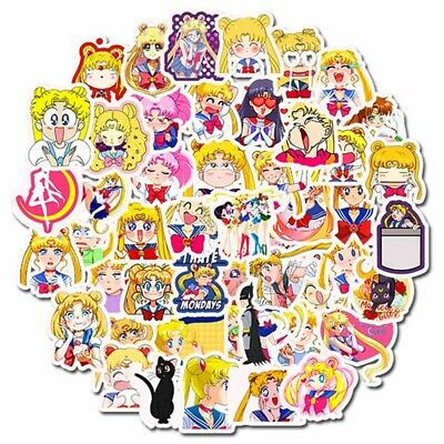 50pcs/Set Anime Sailor Moon Self Sticking Stickers For Laptop Luggage#cot Ls #UK • 2.40£