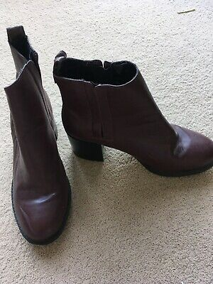 Ladies Burgundy Ankle Boots New Look Size 5 • 1.04£