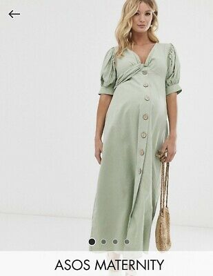 AU30 • Buy ASOS Maternity Button Through Twist Front Tea Maxi Dress In Seersucker Green