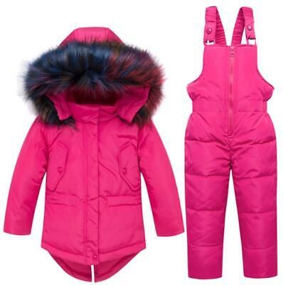 Toddler Kids Girls Winter Fur Hooded Parka Puffer Duck Down Jacket Coat Snowsuit • 32.99£