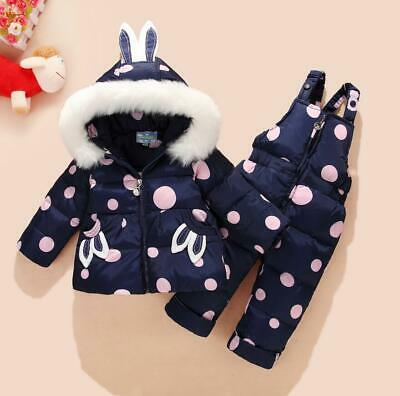 Baby Toddler Girls Kids Warm Snowsuit Fur Hooded Puffer Down Jacket Winter Coat • 32.99£
