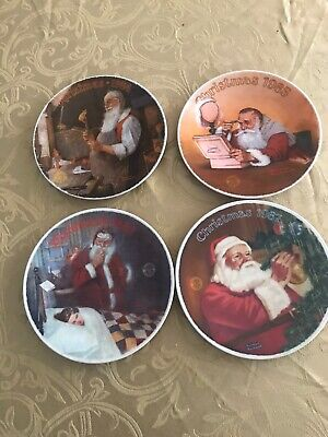 $ CDN16 • Buy Lot Norman Rockwell Knowles Christmas Plates 1984, 1985, 1986, & 1987
