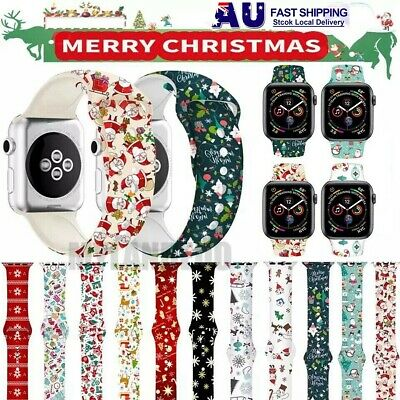 AU12.99 • Buy Christmas Replacement Silicon Wrist Sport Band Strap For Apple Watch Series 6 5