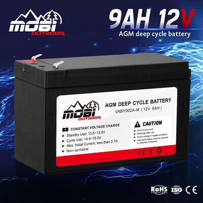 AU25.99 • Buy MOBI 9AH 12V AGM Battery Deep Cycle Camping Marine 4WD Solar SLA Lead Acid