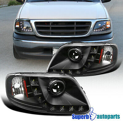 $115.98 • Buy For 1997-2003 Ford F150 Expedition Black Projector Headlights W/ LED Lamps
