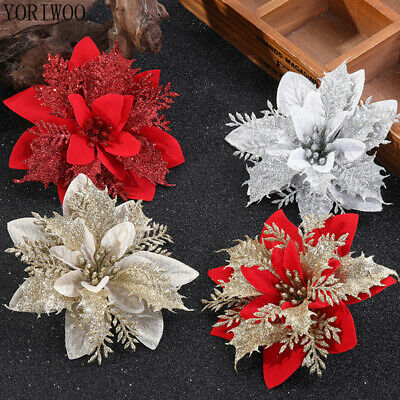 10x Artificial Christmas Glitter Flower Tree Hanging Xmas Party Tree Decoration • 5.99£