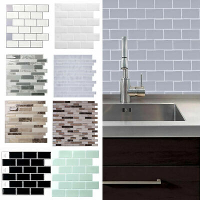 Kitchen Tile Stickers Bathroom 3D Mosaic Self-adhesive Wall Cover Decal Sticker • 7.49£