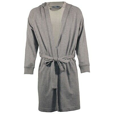 Mens Dressing Gown Hooded EX M&S Towelling Jersey Bath Robe Quick Dry Warm Robes • 9.99£