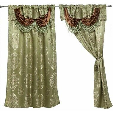 $39.99 • Buy Layla Sage Green Drape Curtains Set With Attached Valance And Sheer 4 Pcs Set