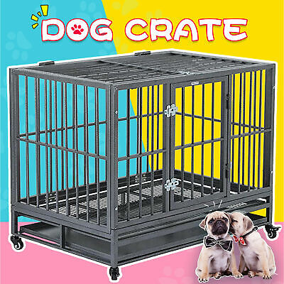 $39.99 • Buy 36  Large Heavy Duty Metal Dog Crate Pet Kennel Cage Playpen With Tray & Wheels