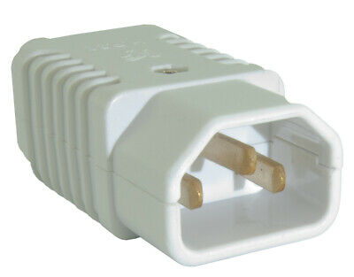 IEC C13/C14 'Kettle' Lead Male Socket Connector Plug Re-wireable 250v - WHITE • 3.49£