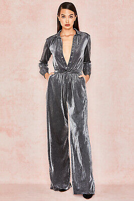 HOUSE OF CB 'Beatriz' Silver Black Sparkly Jumpsuit L 12 / 14 SS 20594 • 9.99£