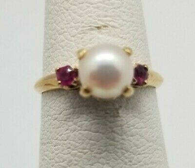£140.31 • Buy Pearl And Ruby Ring In 10k Yellow Gold