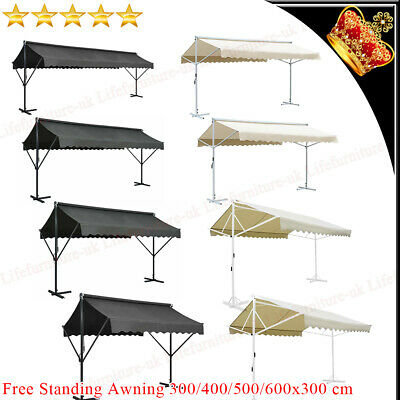 Free Standing Awning 3/4/5/6m Garden Canopy Umbrella Sunshade Blind Screen Cover • 516.99£