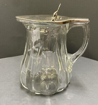 $4.99 • Buy Vintage Antique Hinged Glass Syrup Pitcher - Metal Lid - Late 1800s