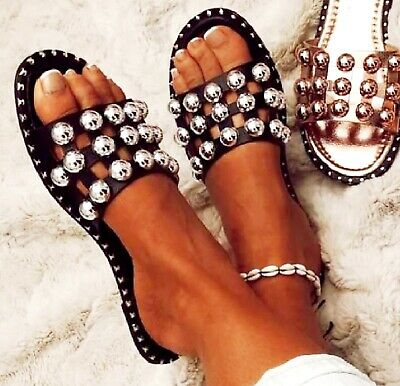 £13.99 • Buy New Womens Ladies Flat Slip On Mule Summer Studs Studded Cage Sandals Shoes Size