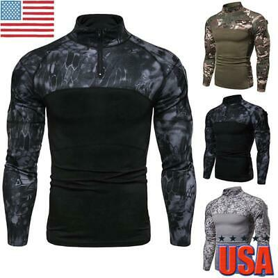 $12.09 • Buy Mens Camo Military T-shirt Tactical Long Sleeve Army Combat Shirt Fitness Blouse