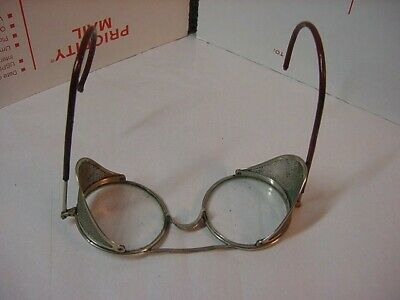 $15 • Buy Antique Steampunk Safety Glasses Motorcycle Aviator Goggles Wilson B Mesh Sides