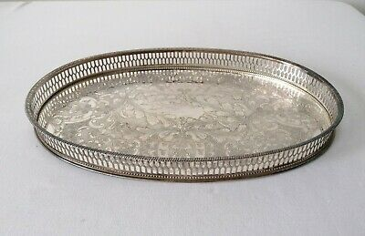 Vintage Silver Plated Viners Of Sheffield Chased Serving Tray • 9£
