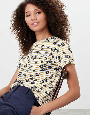 Joules Womens Sofi Print Pocket T-Shirt - Cream Gold Floral Stripe • 13.56£