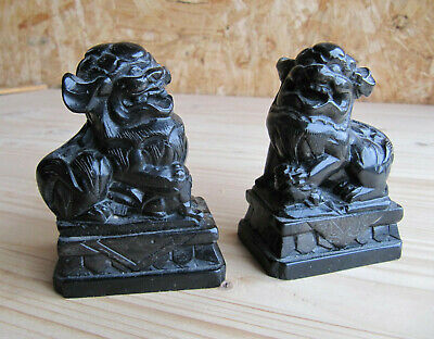 Pair Of Handcarved Chinese Soapstone Foo Dogs, Lion Temple Dogs  • 28£