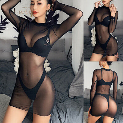 Women's Sheer Mesh Bodycon Sexy Ladies See-through Night Bar Clubwear Mini Dress • 3.89£