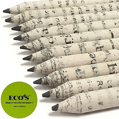 £3.98 • Buy RECYCLED NEWSPAPER PENCILS HB Eco Friendly Reuse Set Drawing Stationery 10 Pack
