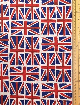 Union Jack Fabric 35% Cotton 65% Polycotton Material Metre United Kingdom Flag • 24£