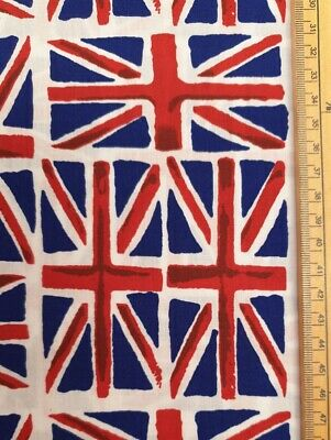 Union Jack Fabric UK Fat Quarter 18  X 22  Approx Cotton Poly Mix Flag British • 4.50£