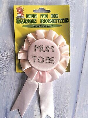 Baby Shower PINK Mum To Be ROSETTE Diamante Badge Gift Present Accessory • 1.95£