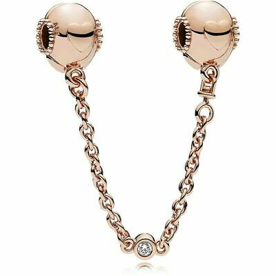 Genuine Pandora Rose Gold Embossed Hearts Safety Chain Charm 787636CZ-05 ALE MET • 13.99£