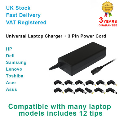 Universal Laptop Charger Plug UK 90W AC Power Adapter Charger Multi Connectors • 16.95£