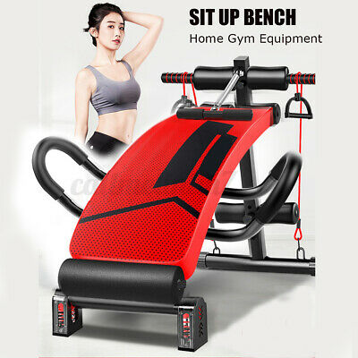 Folding Sit Up Bench Ab Crunch Exercise Bench Decline Fitness Workout Home UK • 56.99£